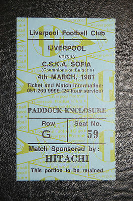 Ticket  Liverpool V Cska Sofia  1980/81  European Cup Mint Condition