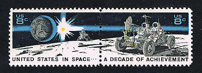 1971 US In Space DECADE OF ACHIEVEMENTS Postage Stamps 1434-1435 *ST30