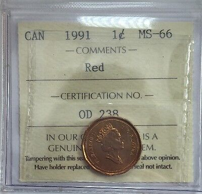 1991 Canadian One Cent Coin ICCS Graded MS-66 Red