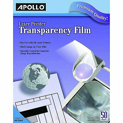 Apollo Laser Jet Printer and Copier Transparency Film, 50 Sheets (CG7060) NEW