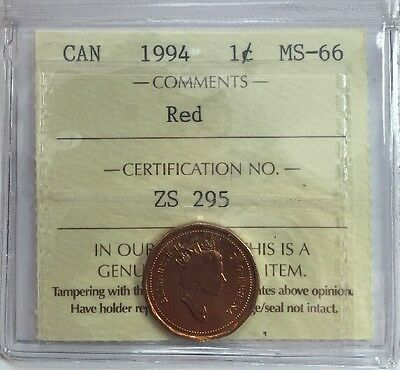 1994 Canadian One Cent Coin ICCS Graded MS-66 Red