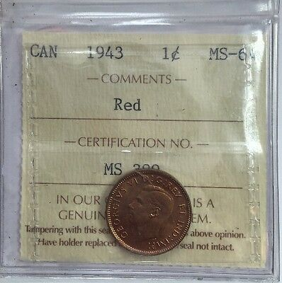 1943 Canadian One Cent Coin ICCS Graded MS-64 Red