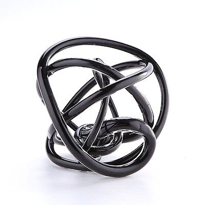 "New 8"" Hand Blown Art Glass Knot Sculpture Figurine Statue Abstract Black"