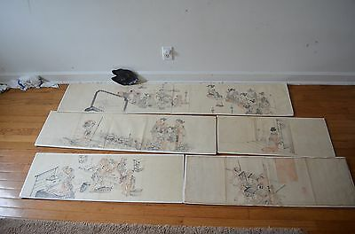Rare five antique 1820 s japanese w/c paintings i landscape 1 fishing w/ figures