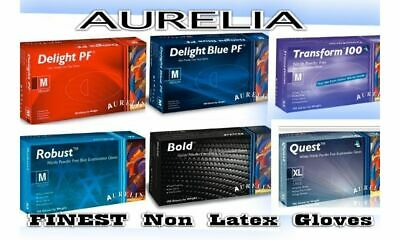 SUPERB AURELIA NON LATEX /LATEX FREE GLOVES, Clear White, Blue Nitrile Vinyl