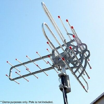Outdoor Rotating UHF / VHF Channels TV Antenna Aerial w Booster / Remote Control