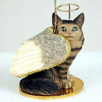 MAINE COON BROWN TABBY ANGEL CAT CHRISTMAS ORNAMENT HOLIDAY  Figurine Statue