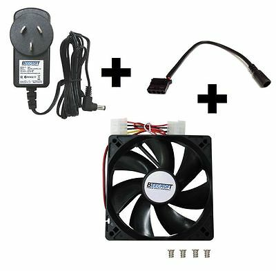 Cooling Kit including 12V DC Power Supply Adapter+Converter Cable+120mm Fan