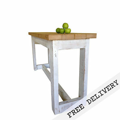 8 Seater Rustic Wooden Kitchen Island Petite High Bench Bar Table Free Delivery