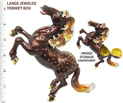 Horse (Large Stallion) Jeweled Trinket Box with SWAROVSKI Crystals, by RUCINNI