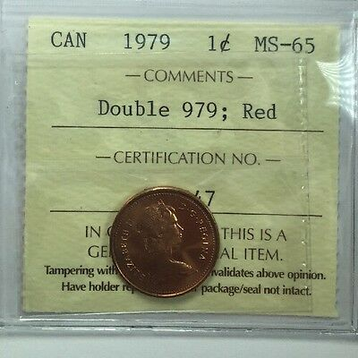 1979 Canadian One Cent Coin ICCS Graded MS-65 Double 979;  Red