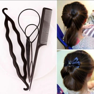 4X Set Plastic Magic Topsy Tail Hair Braid Ponytail Styling Maker Clip Tool EFC