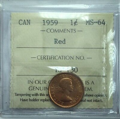 1959 Canadian One Cent Coin ICCS Graded MS-64 Red