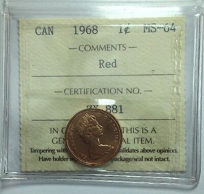 1968 Canadian One Cent Coin ICCS Graded MS-64 Red