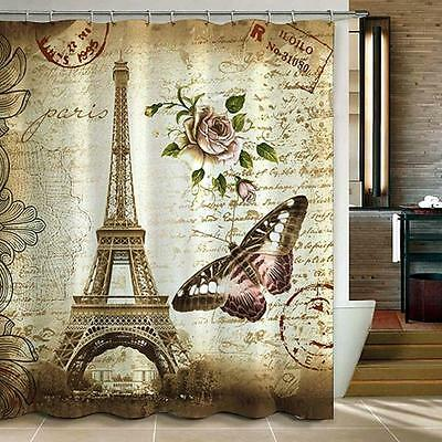 Hot Eiffel Tower Butterfly Shower Curtain Bathroom Waterproof Polyester Fabric