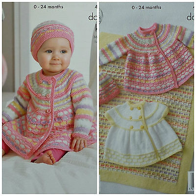 KNITTING PATTERN Baby Long Sleeve Double Breasted Jacket & Hat DK King Cole 4212