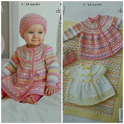 KNITTING PATTERN Baby Matinee Coat Blanket Jacket & Hat DK King Cole 4212
