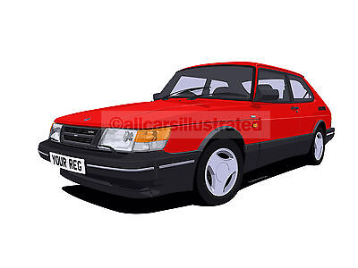 Saab 900 Graphic Car Art Print Picture (Size A4). Personalise It!