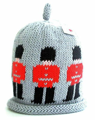 MERRY BERRIES Guardsman (Beefeaters) on Grey Knitted Baby Hat - 100% Cotton NEW
