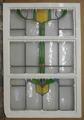 "LARGE OLD ENGLISH LEADED STAINED GLASS WINDOW Abstract Floral 22"" x 32.75"""