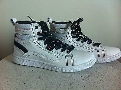 787e57b290bba NEW Men's Tommy Hilfiger Red/White/Blue Lace Up High Top Sneakers Shoes (