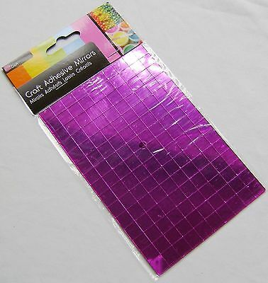 New 150 Self Adhesive Glass Mirror Squares Tiles Mosaic Art Craft 1Cm Sil Pink