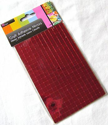 New 260 Self Adhesive Glass Mirror Squares Tiles Mosaic Art Craft 7Mm Sil Red