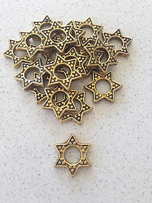 Antique Gold Star Spacer Beads x 15