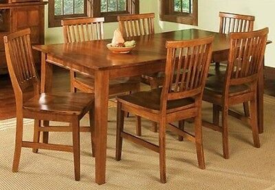 7 Pc Oak Dining Room Set Wood Kitchen Furniture Table & 6 Chairs Dinette Sets