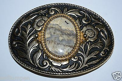 WOW Vintage Western Oval Polished Stone Belt Buckle Rare