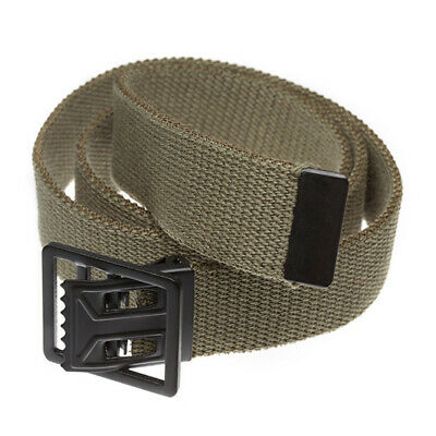 """U.s Military Style Khaki Web Belt With Black Metal Open Face Buckle 54"""" Inches"""