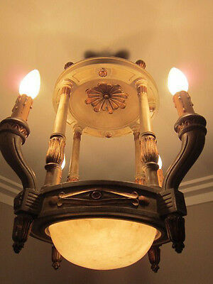 Europe 19 th france Antique Louis XVI * Wood Chandelier beautiful electric light