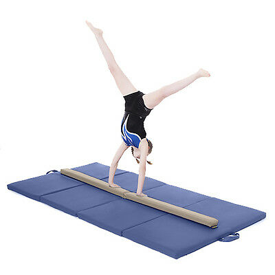 Cream Large 8ft Gymnastics Folding Balance Beam 2.4M Faux Leather Gym Training