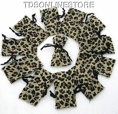 Lot of 12 Leopard Sheer Organza Jewelry Gift Bags