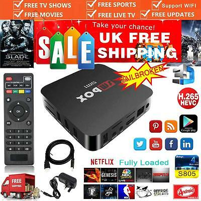 4K Quad Core Android Smart TV Box Wifi Fully Loaded Media Free Sports as MXQ M8S