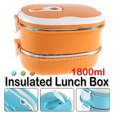 2 Layer Thermal Insulated Lunch Box Bento Food Picnic Container Stainless Steel