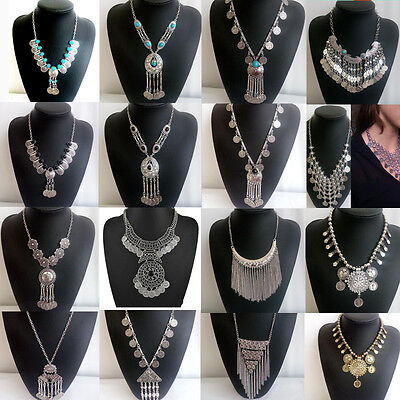 Bohemian Gypsy Ancient Silver Coin Pendant Bib Statement Necklace Jewelry Gift