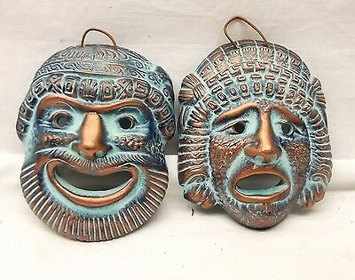 Vtg Greek Pottery Hand Made Theater Mask Set Comedy Tragedy Greece Wall Mask