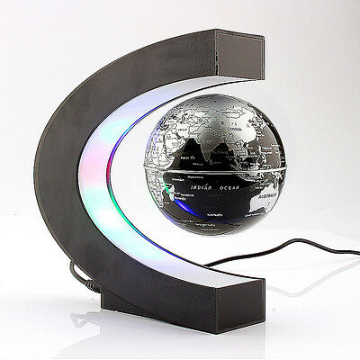 C shape LED World Map Floating Globe Magnetic Levitation Light Magic Novel Light