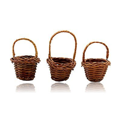 3x Miniature Woven Wicker Basket for Crafting purposes Doll House Size H