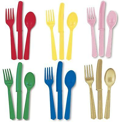 Plastic Party Cutlery Tableware Baby Shower Christening X18 Solid Colour