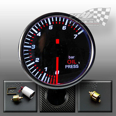 "OIL PRESSURE GAUGE SMOKED DIALS FACE 52mm 2""  Bar"