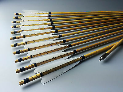 White Medieval Wooden Arrows Handmade Shaft Practice Archery For Recurve longbow