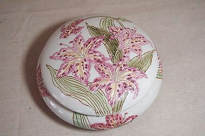 Vintage Andrea by Sadek Pink Tiger Lilly Lidded Powder / Dresser Jar