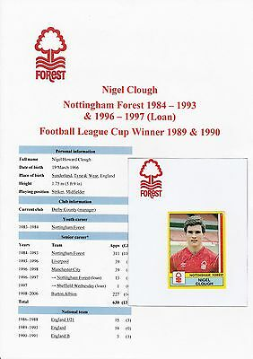 Nigel Clough Nottingham Forest 1984-93 Orig Signed Figurine Panini Sticker-Used