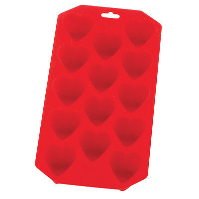 HIC Silicone Heart Ice Tray & Mold, Red