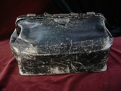 Antique 1903 COUNTRY DOCTOR'S SURGICAL BAG Large Satchel BLACK LEATHER Medical