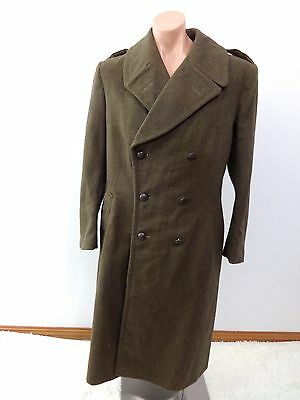 """Vintage Wwii French Olive Green Wool Double Breasted Trench Coat Size 42"""" Chest"""