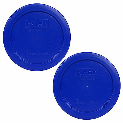 """Pyrex 7200-PC 2 Cup 5"""" Storage Lid Cover Light Blue New for Glass Bowl 2pk"""