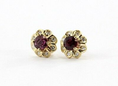 Antique 14K Gold Red Spinel & Diamond Earring Posts